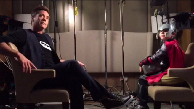 Little Thor interviewing Robert Downey Jnr
