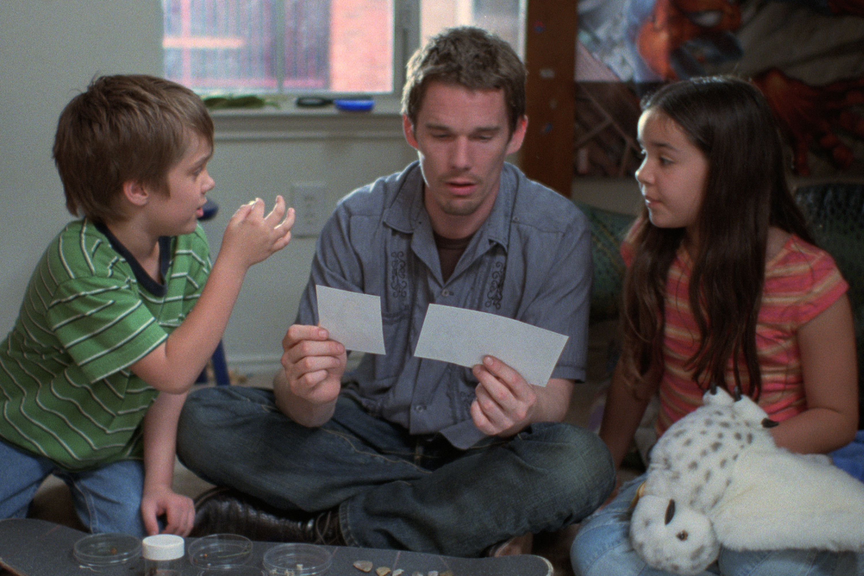 Ethan Hawke and the young cast members in Richard Linklater's 'Boyhood'