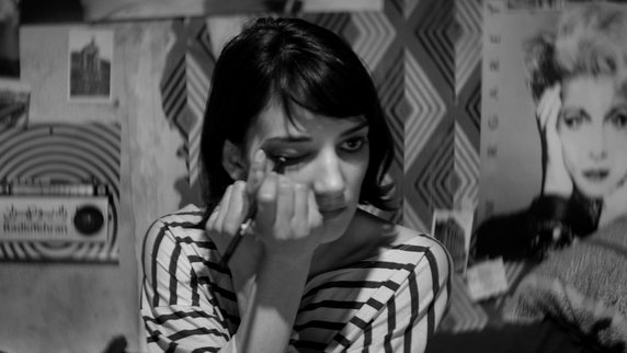 Sheila Vand in A GIRL WALKS HOME ALONE AT NIGHT (2014), the first Iranian Vampire Western
