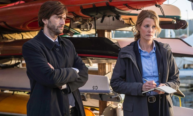 "This photo released by Fox shows David Tennant, left, Detective Emmett Carver and Anna Gunn, Detective Ellie Miller as they interview Jack Reinhold in the Event Series Premiere of ""Gracepoint,"" airing Thursday, Oct. 2, 2014, (9:00-10:00 PM ET/PT) on Fox. (AP Photo/Fox, Ed Araquel)"