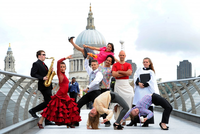 Picture shows artists from the City of London Festival 2015 on the Millenium Bridge, London today. Over 200 events in over 50 venues across the Square Mile start from today until 10th July.