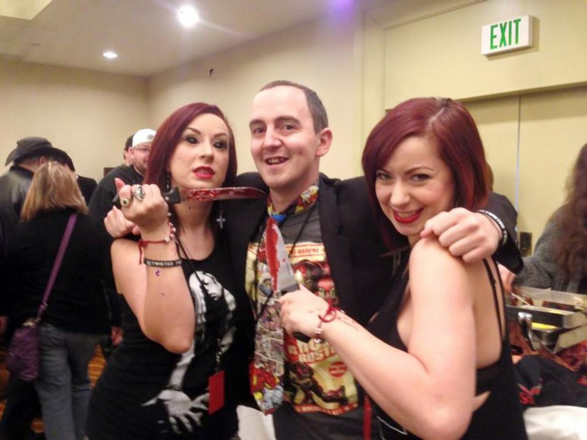 Jonathan Hughes with the Soska Sisters