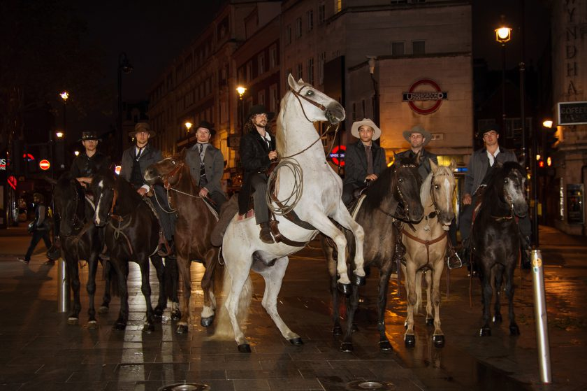 Seven mysterious riders decend on Leicester Square for a screening of the Magnificent Seven, released in cinemas this Friday. The Stunt horses performed tricks for onlookers before disappearing into the distance.